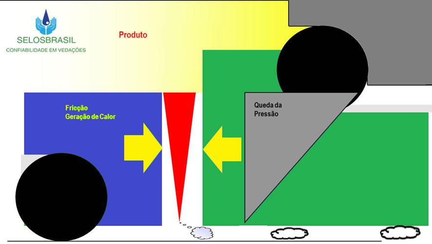 Figura 03: Representação do comportamento do fluído nas faces de vedação do selo mecânico
